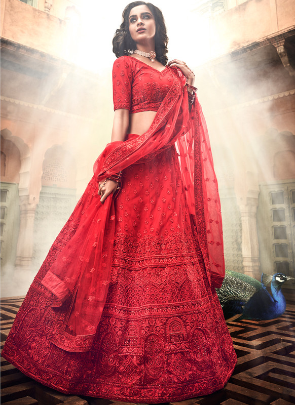SareeBuzz Red Soft Net Thread Work Designer Wedding Lehenga Choli