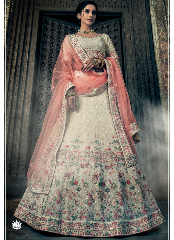 SareeBuzz Off White Thread Wrok Designer Georgette Bridal Lehenga Choli