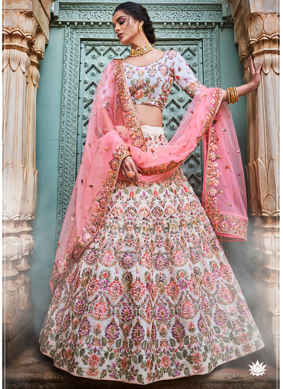 SareeBuzz Off White Georgette Sequins Designer Bridal Lehenga Choli
