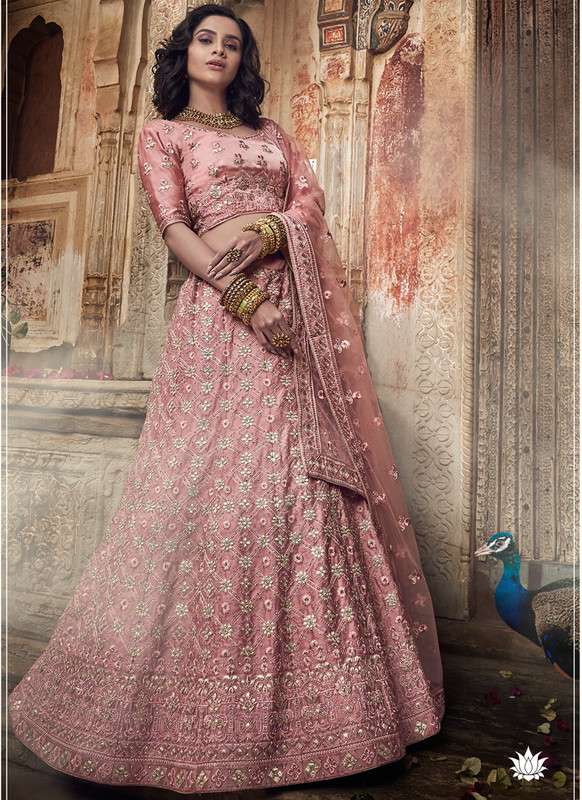 SareeBuzz Pink Satin Gota Work Designer Wedding Lehenga Choli