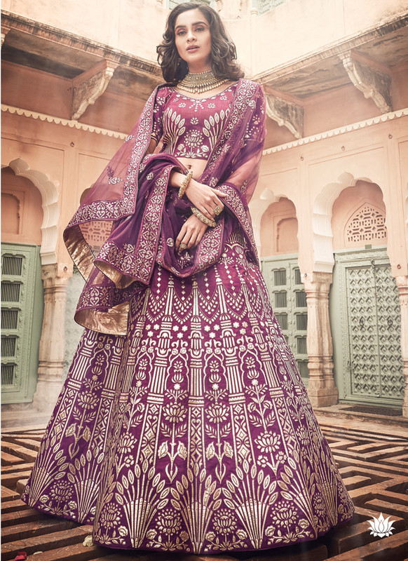 SareeBuzz Wine Art Silk Designer Zari Work Bridal Lehenga Choli