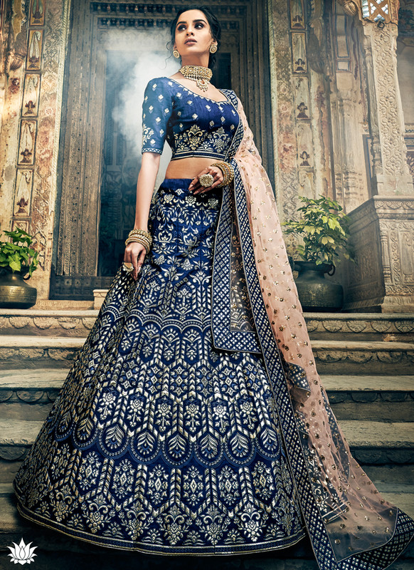 SareeBuzz Navy Blue Art Silk Gota Work Designer Wedding Lehenga Choli