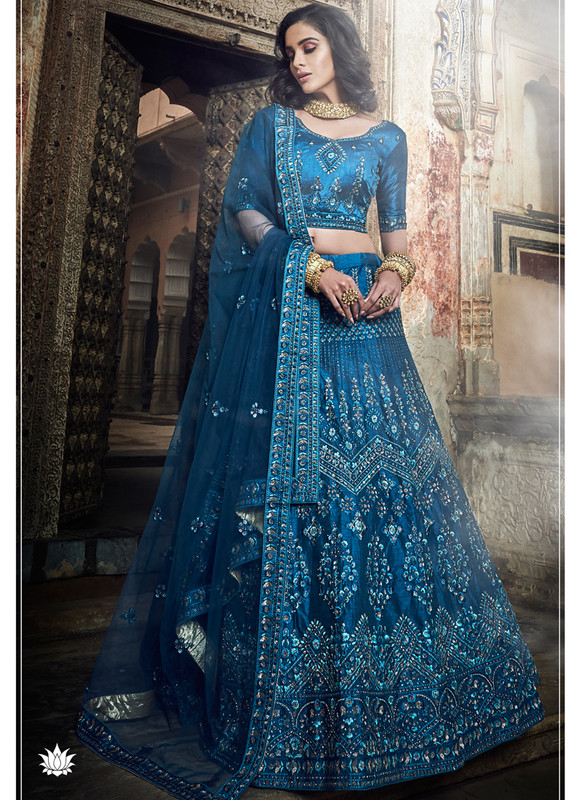 SareeBuzz Blue Art Silk Sequins Work Designer Bridal Lehenga Choli