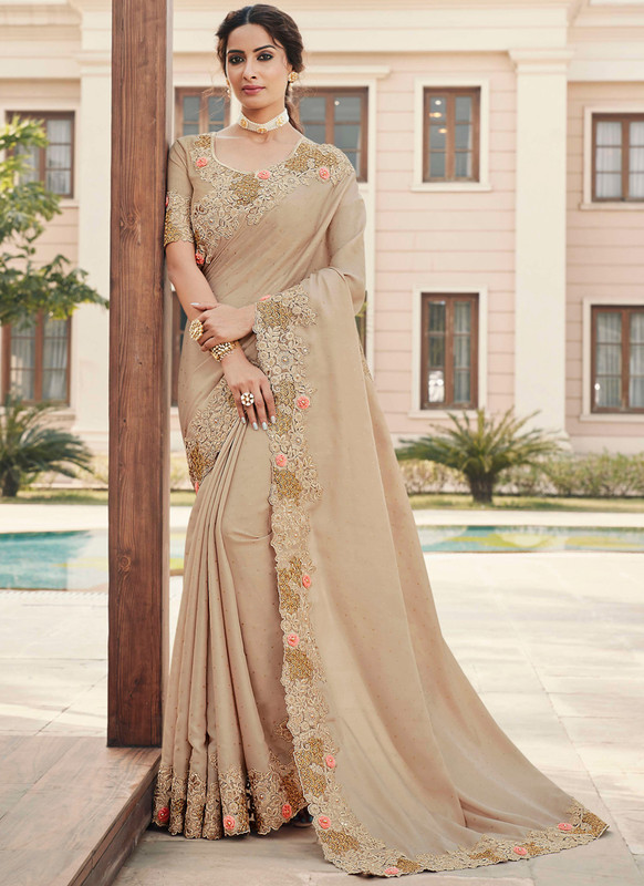SareeBuzz Beige Silk Embroidered Work Broder Party Wear Saree