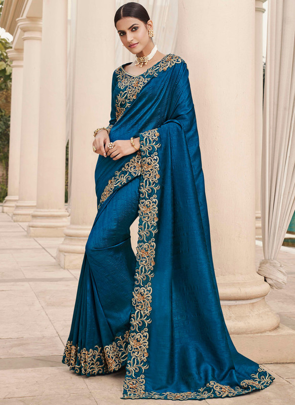 SareeBuzz Blue Silk Embroidered Work Broder Party Wear Saree