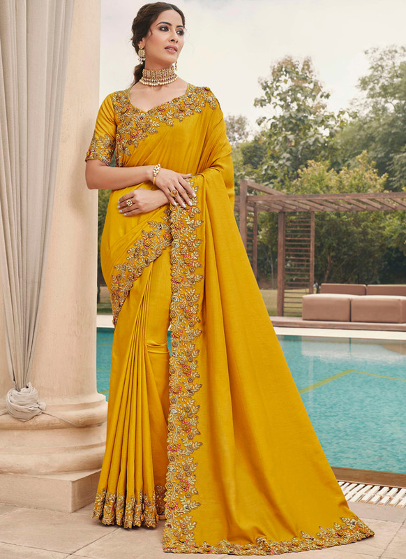 SareeBuzz Yellow Silk Embroidered Work Broder Party Wear Saree